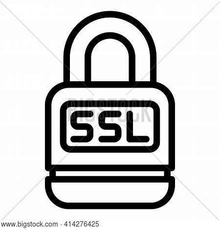 Lock Ssl Icon. Outline Lock Ssl Vector Icon For Web Design Isolated On White Background