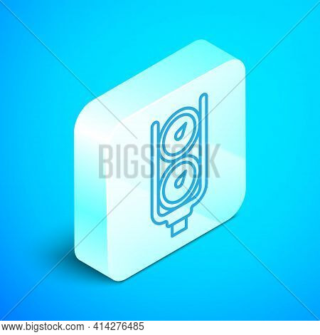 Isometric Line Gauge Scale Icon Isolated On Blue Background. Satisfaction, Temperature, Manometer, R