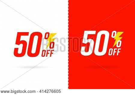 Sale Coupon Retail Template 50 Percent Off Price Reduction. Retail Offer For Economy Shopping Tear-o