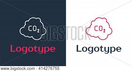 Logotype Line Co2 Emissions In Cloud Icon Isolated On White Background. Carbon Dioxide Formula, Smog
