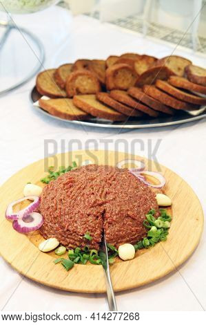 Czech Steak Tartare Meat With Grilled Gread