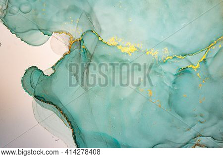 Vibrant Abstract Background Liquid. Alcohol Inks Drops. Gold Flow Mix. Ink Acrylic Design. Abstract