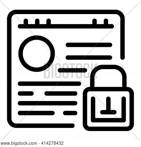 Locked Webpage Icon. Outline Locked Webpage Vector Icon For Web Design Isolated On White Background