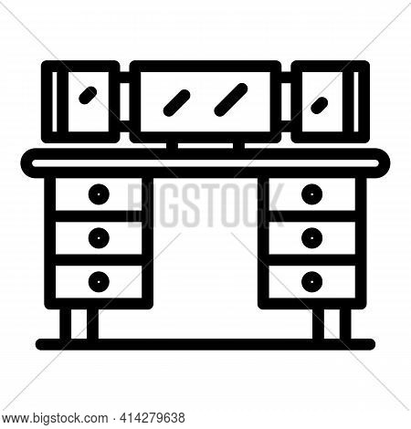 Workstation Icon. Outline Workstation Vector Icon For Web Design Isolated On White Background