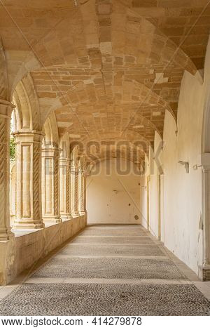Interior Of The Cloister Of Sant Vicenç Ferrer, Historic Building That Houses The Municipal Library