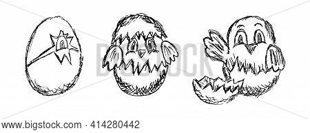 Vector Set Of Black And White Grunge Sketches Of Nestlings In Eggshell. Freehand Pencil Lineart Draw