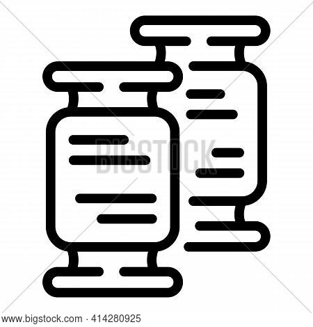 Spools Thread Icon. Outline Spools Thread Vector Icon For Web Design Isolated On White Background