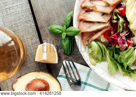 Healthy Eating Concept Flat Lay. Mediterranean Diet, Plate With Lettuce Salad Leaves, Radichio, Avoc