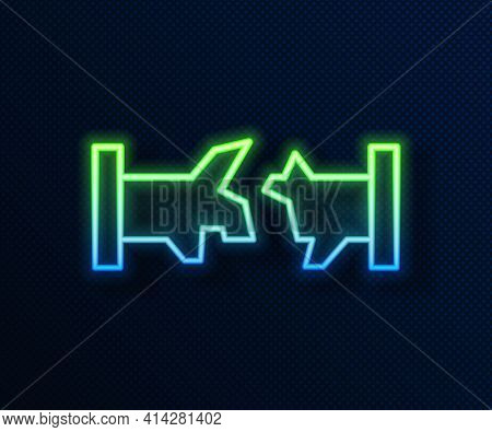 Glowing Neon Line Broken Metal Pipe With Leaking Water Icon Isolated On Blue Background. Vector