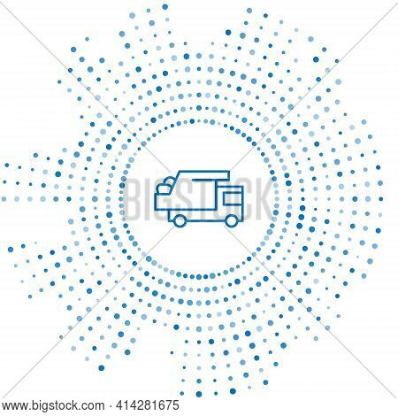 Blue Line Garbage Truck Icon Isolated On White Background. Abstract Circle Random Dots. Vector