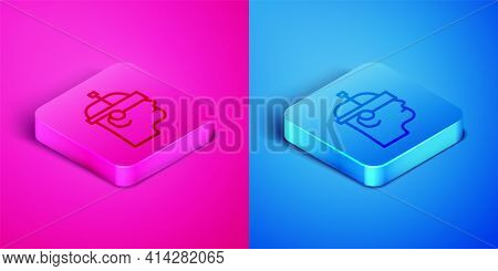 Isometric Line Smart Glasses Mounted On Spectacles Icon Isolated On Pink And Blue Background. Wearab