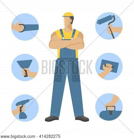 Master Builder And Icons Of Construction, Repair, And Finishing Tools In Your Hands. Vector Characte