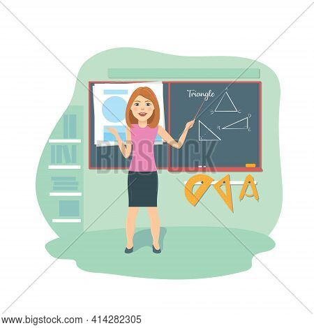A Smiling School Teacher At The Blackboard Explains A Geometry Lesson. Cartoon Vector Character Youn