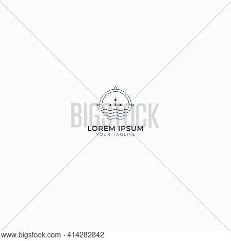 Line Art Logo Minimalist Waves And Leaf Logo Sea Navigate