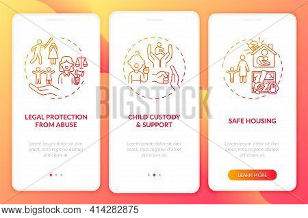 Domestic Violence Survivors Support Onboarding Mobile App Page Screen With Concepts. Safe Housing Wa