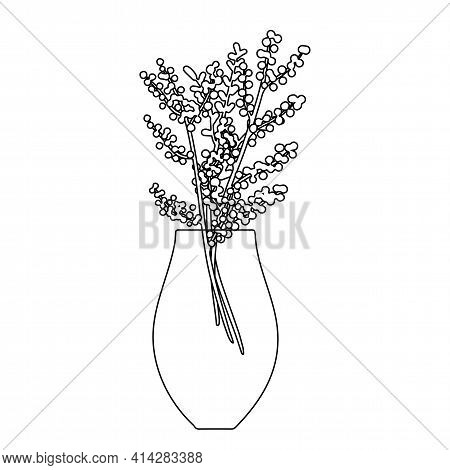 Linear Tall Vase With A Bouquet Of Mimosa And A Branch With Leaves. Black Lines On A White Backgroun