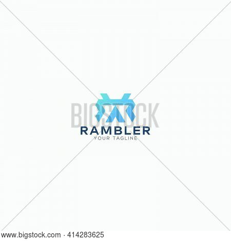 Ramble Simple Mountain Symbol With Letter R Logo