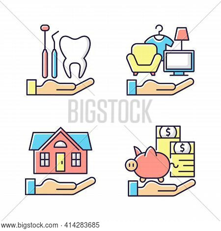Insurance And Protection Rgb Color Icons Set. Dental Care. Property Coverage. Payment Protection. Re