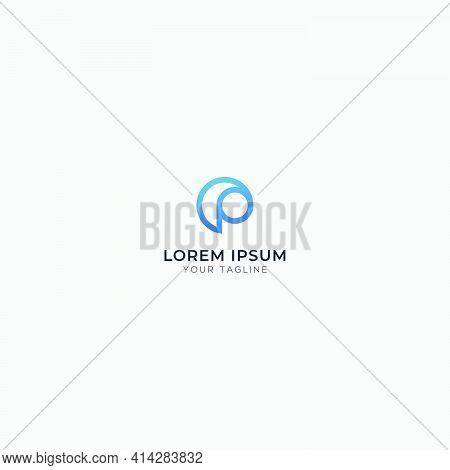 Letter P Abstract Circle Modern Logo Minimalist