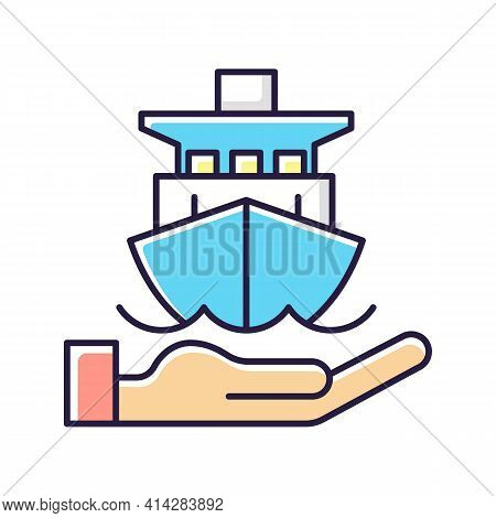 Marine Insurance Rgb Color Icon. Transport Damages And Losses Coverage. Ships, Vessels, Cargo. Prote