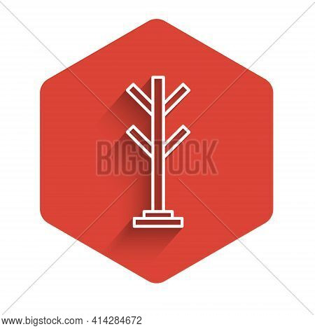 White Line Coat Stand Icon Isolated With Long Shadow. Red Hexagon Button. Vector