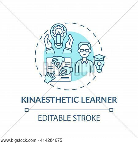 Kinaesthetic Learner Turquoise Concept Icon. Tactile Learning. Self Development And Improvement In S