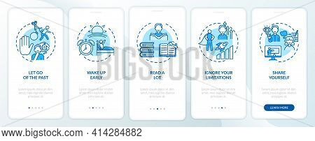 Self-development Tips Blue Onboarding Mobile App Page Screen With Concepts. Improving Yourself Walkt