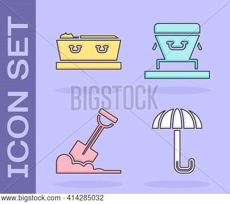 Set Umbrella, Coffin With Dead, Shovel In The Ground And Coffin Icon. Vector