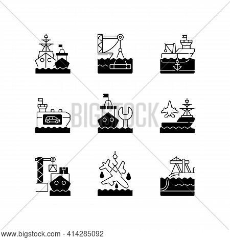 Shipping Industry Black Linear Icons Set. Naval Fleet. Underwater Construction. Anchorage. Vehicle C