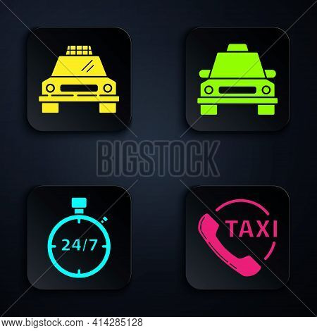 Set Taxi Call Telephone Service, Taxi Car, Stopwatch 24 Hours And Taxi Car. Black Square Button. Vec