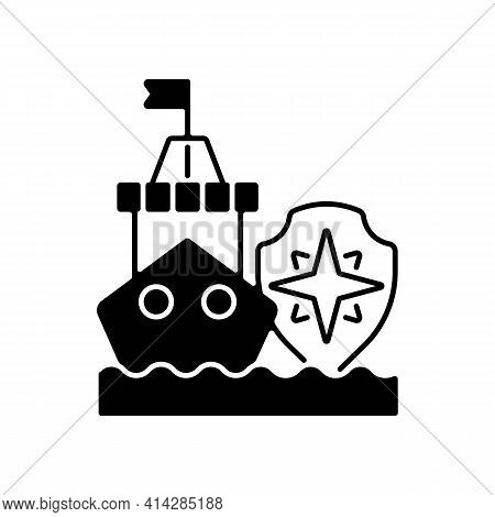 Maritime Security Black Linear Icon. Marine Environment Protection. Preventing Maritime Terrorism, T
