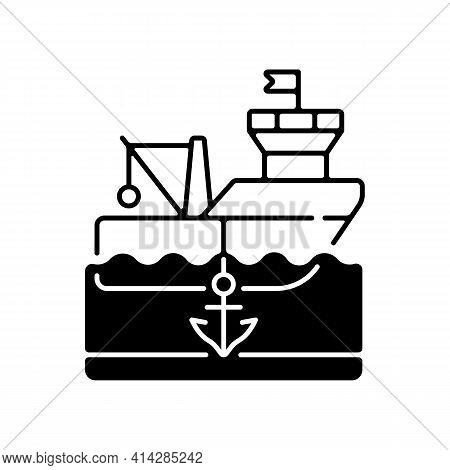 Anchored Ship Black Linear Icon. Anchorage. Anchoring Operation. Holding Vessel In Same Place. Prote