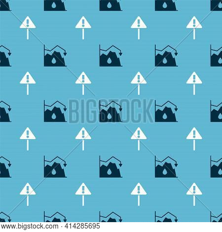 Set Drop In Crude Oil Price And Exclamation Mark In Triangle On Seamless Pattern. Vector