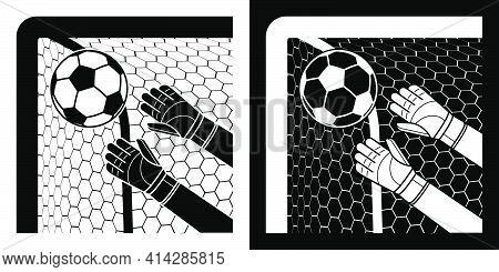 Goalkeeper Gloved Hands Catch Soccer Ball Flying Into Corner Of Goal. Football Goalie Protective Gea