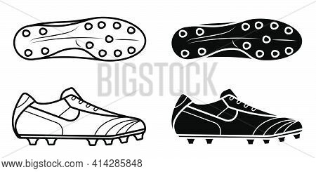 Pair Of Classic Soccer, Football Boot, Spiked Sneaker Icon. Isolated Vector On White Background