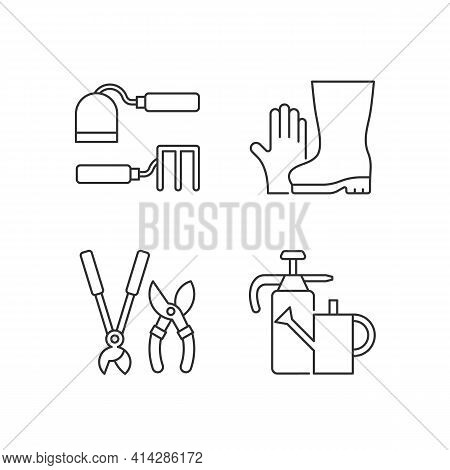 Gardening Supplies Linear Icons Set. Hoe And Fork Hoes. Gloves, Boots. Clippers, Secateurs. Watering