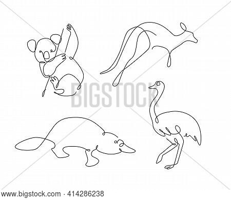 One Line Set Of Australian Animals. Koala Outline. Kangaroo Continuous Line. Ostrich Lines Design. P