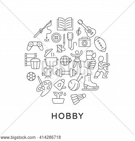 Hobby Abstract Linear Concept Layout With Headline. Spending Time. Pastime Minimalistic Idea. Recrea