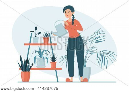 Woman Watering Plants In Pots Vector Isolated