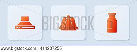 Set Pudding Custard, Kitchen Extractor Fan And Bottle With Milk. White Square Button. Vector