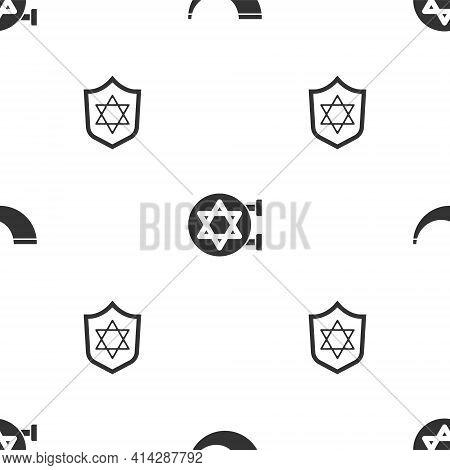 Set Traditional Ram Horn, Shofar, Jewish Synagogue And Shield With Star David On Seamless Pattern. V