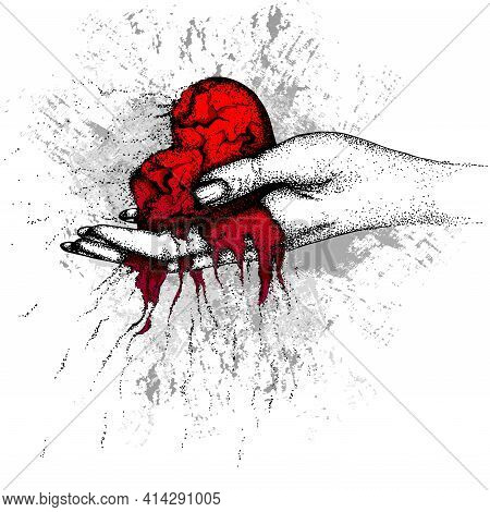 A Scorched, Crumbling Heart In A Woman Hand. Vector Hand Drawn Illustration. Color Illustration Desi