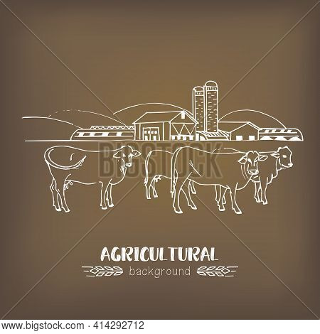 Vector Sketch Illustration Of An Agricultural Farm, Agri Business, With Agricultural Hangars, Silo T