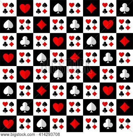Square Chess Poker Seamless Pattern With Card Suits: Clubs, Hearts, Diamonds, Spades.