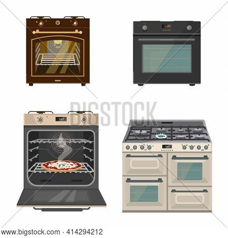 Vector Set Of Different Gas Stoves. Flat Cartoon Style. Isolated On White.
