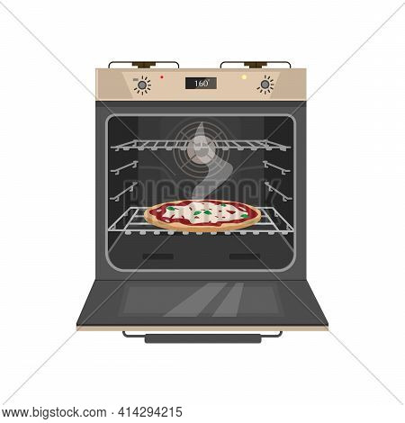 Vector Illustration Of Opened Gas Stove With Tasty Pizza Inside. Flat Cartoon Style. Isolated On Whi