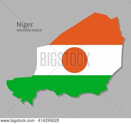 Map Of Niger With National Flag. Highly Detailed Map Of Western Africa Country