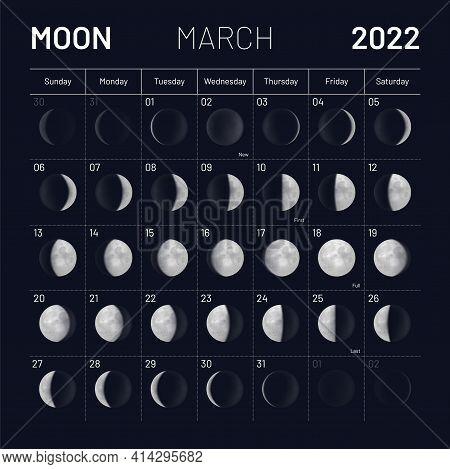 March Moon Phases Calendar On Dark Night Sky