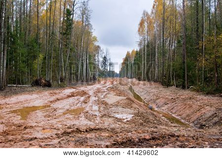 Dirty Road In Latvia