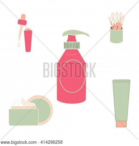 Makeup Kit Isolated On White Background. Makeup Collection. Vector.